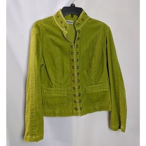Chico's Green Courderoy Metal Buttons Blazer Sz S